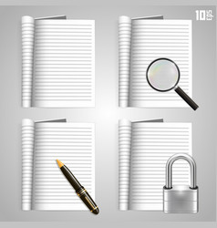 collection of icons open the paper journal vector image vector image
