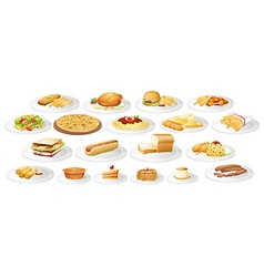 Different kind of food on plates vector image