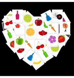 Heart from instant photos vector image