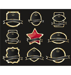 set of black gold-framed labels vector image
