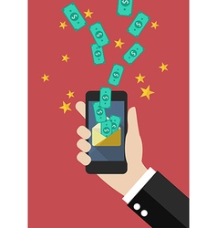 Hand holding smartphone with banknotes fly into vector image