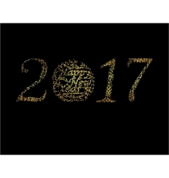 Inscription of 2017 points of light on a black vector image