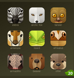 animal faces for app icons-set 20 vector image vector image