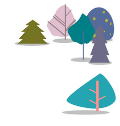 colorful trees on a white background vector image vector image