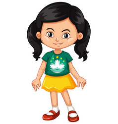 girl wearing shirt with macau flag vector image