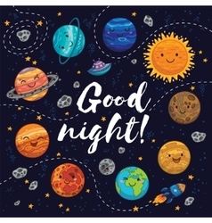 Good night - hand drawn poster with planets stars vector image vector image