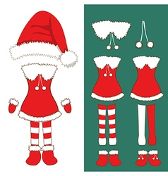 Santa Girl Costume Pompom Hat Christmas Outfit vector image