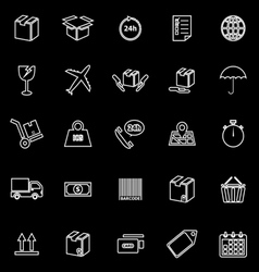 Shipping line icons on black background vector image vector image