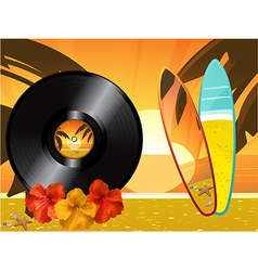 Summer sunset background with vinyl record surfing vector image vector image
