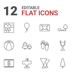 12 holiday icons vector image