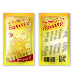 3d realistic instant banana juice package vector