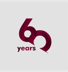 60 year anniversary elegant number template design vector