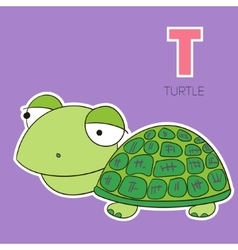 Alphabet letter T turtle children vector image