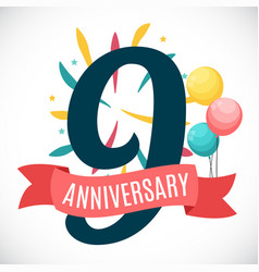 anniversary 9 years template with ribbon vector image