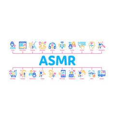 Asmr sound phenomenon minimal infographic banner vector