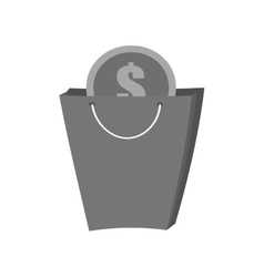 bag gift buy with dollar coin gray color vector image