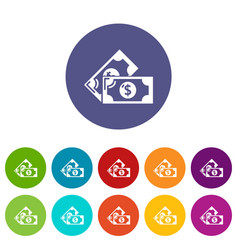 Bank note icons set color vector