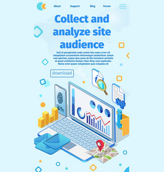 Banner written collect and analyze site audience vector