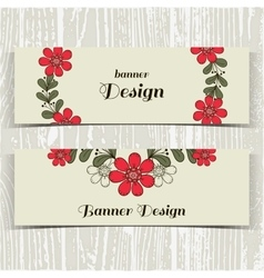 Banners Red Flowers vector image