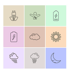 Battery moon crecent ecology sun cloud rain vector
