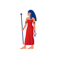 Beautiful egyptian woman with scepter and ankh vector