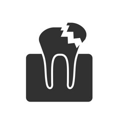 Black icon on white background broken tooth vector