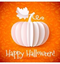 Bright Halloween white paper pumpkin vector image