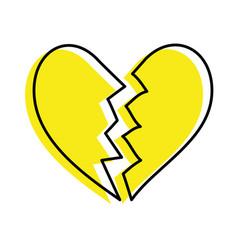 Broken heart icon divorce end love symbol vector