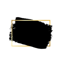 brush stroke gold text box isolated white vector image