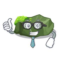 Businessman cartoon moss grow on sea rock vector