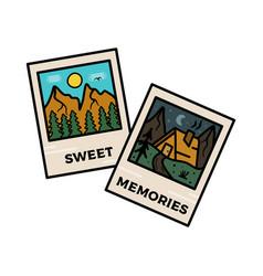 camping badge design outdoor logo vector image