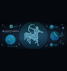 Card with astrology sagittarius sign vector