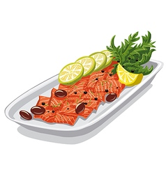 Carpaccio with olives vector