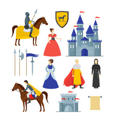 cartoon medieval knight signs icon set vector image