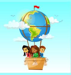 Children on globe hot air balloon vector