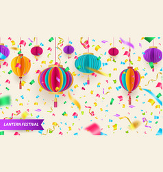 chinese traditional hanging paper lanterns vector image