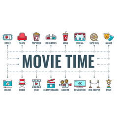 cinema and movie typography banner vector image