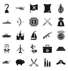 combat icons set simple style vector image