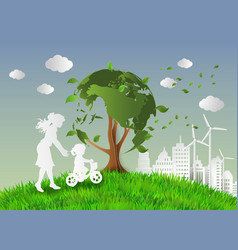 Concept of eco with family vector