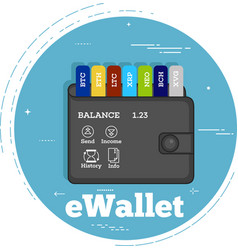 cryptocurrency wallet concept in line art style vector image