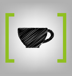 Cup sign black scribble icon in citron vector