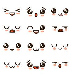 Cute faces kawaii emoji cartoon vector