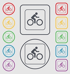 Cyclist icon sign symbol on the Round and square vector image