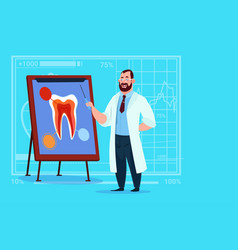 Doctor dentist looking at tooth on board medical vector