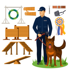 dog trainer and agility obstacles policeman vector image