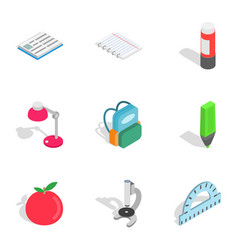 Education equipment icons isometric 3d style vector