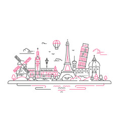 European landmarks flat design composition vector