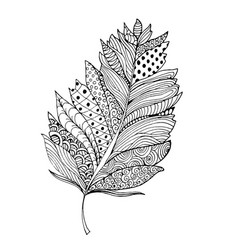 Feather in zentangle style ornamental fill vector