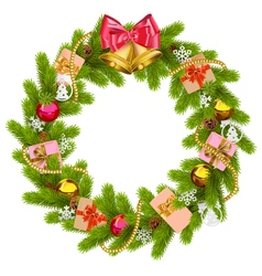 Fir Wreath with Christmas Bell vector