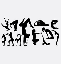 fitness aerobic silhouette vector image